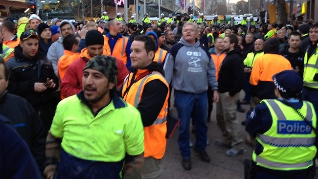 Construction protest in Melbourne