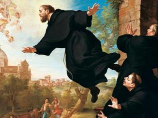 Monky business ... St. Joseph of Cupertino takes flight in a painting by 18th century artist Ludovico Mazzanti.
