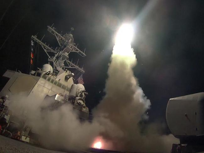 Mr Trump ordered 59 missiles to be blasted at the Syrian air base from which this week's chemical weapons attack is thought to have been launched. Picture: Mass Communication Specialist 3rd Class Ford Williams/US Navy via AP