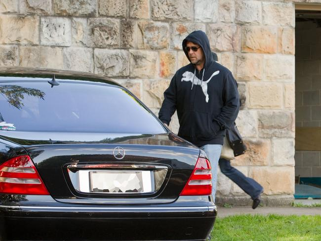 Russell Crowe outside Te Puke as they moved into the mansion in 2011. Picture: Media Mode.