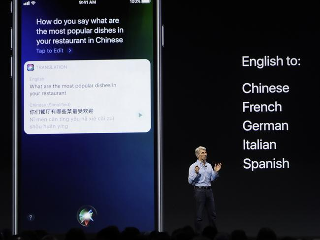 Mr Federighi said Siri will now be able to translate from English to a handful of languages. Picture: Marcio Jose Sanchez/AP