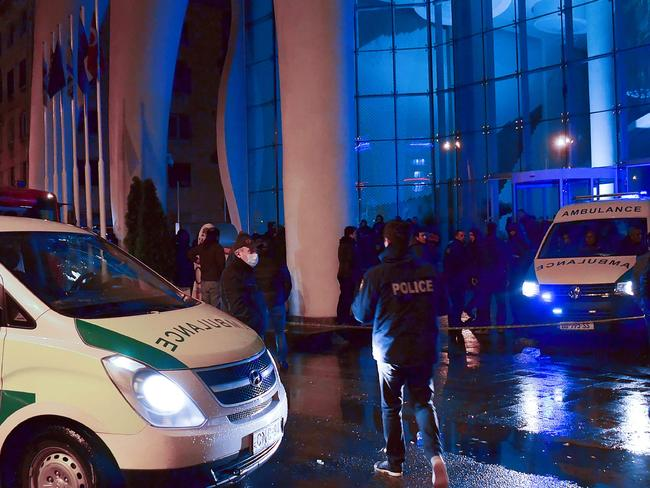 Emergency services at the Leogrand hotel in Georgia's Black Sea resort city of Batumi. Picture: AFP