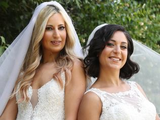 Brides Scarlett and Alene at Channel Nine in Sydney ahead of the new 2017 Married at First Sight series. Picture: Brett Costello
