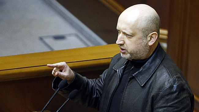 Interim leader ... Newly-appointed Speaker of the Parliament Oleksandr Turchynov speaks during a session in Kiev.