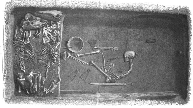 Illustration by Evald Hansen based on the original plan of grave Bj 581 by excavator Hjalmar Stolpe; published in 1889. This excavation was used as the template for what to expect from Viking warrior males. Source: Charlotte Hedengstierna-Jonson et al / Physical Anthropology