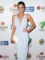 Rebecca McLean on the red carpet arriving at the 2014 Allan Border Medal held at Doltone House at Hyde Park. Picture: Richard Dobson