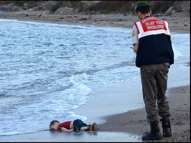 Aylan's death shocked the world. Picture: Nilufer Demir/Dogan News Agency/AFP