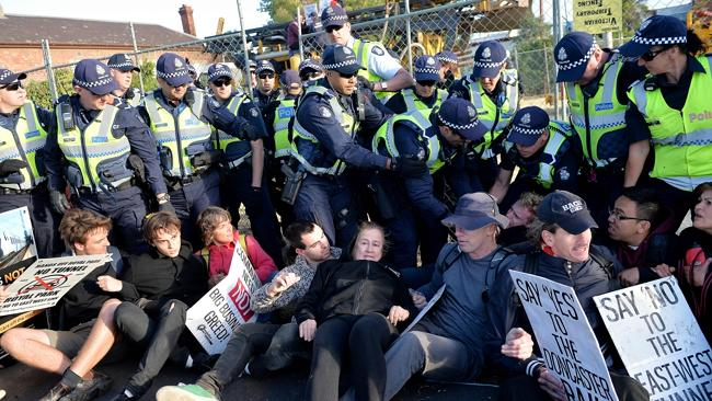 East West Link Protesters clash with police in Carlton. Picture: Nicole Garmston