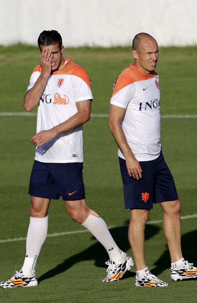 Robin van Persie and Arjen Robben at a training session in Rio de Janeiro on Sunday.