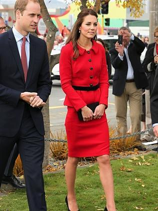 The Duke and Duchess of Cambridge visit the CTV memorial site to remember those lost in the 2011 earthquake, in Christchurch. Picture: AFP