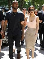Enjoying the Spring sun Kim Kardashian and Kanye West dine at Ferdi in Paris. Picture: Splash