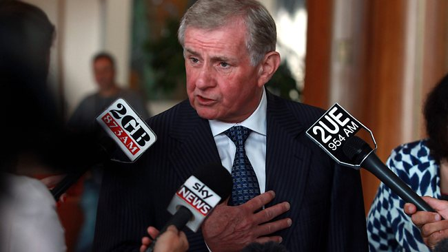Arts Minister Simon Crean holds a doorstop at Parliament House in Canberra Picture: John Feder