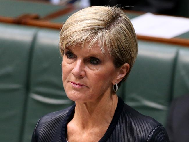 Emotive speech ... Foreign Affairs Minister Julie Bishop making a statement to the House of Representatives on Andrew Chan and Myuran Sukumaran. Picture: Kym Smith
