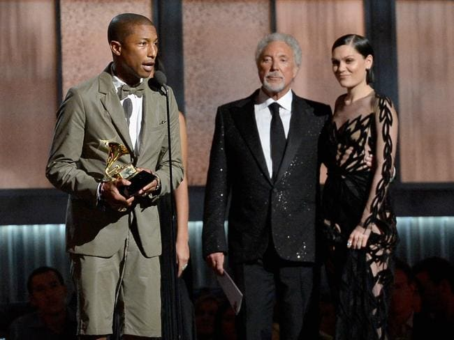 He's happy all right ... Pharell Williams accepts the Best Pop Solo Performance. Picture: Kevork Djansezian/Getty Images