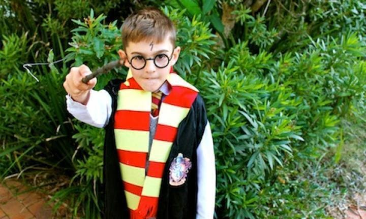 ESCAPE TO HOGWARTS. With a simple robe or cape, a pair of glasses, and a drawn-on scar, your child can become Harry Potter and escape to Hogwarts. Girls can be Harry too of course, but if not, Hermione is a wonderful role model for little girls. Click on the link below for instructions on how to put together this clever costume that will also keep the kids busy on a rainy day.