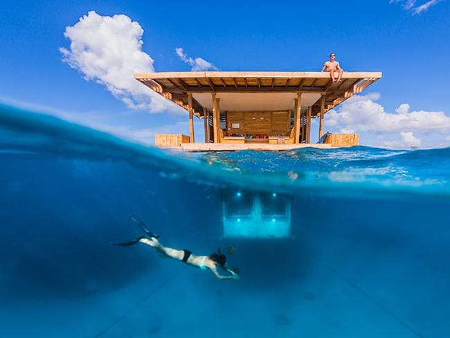 "The underwater room at The Manta Resort on Pemba Island, Zanzibar, is a private floating island with your bedroom 4m below the surface. Picture:  <a href=""http://www.themantaresort.com/"" target=""_blank"">The Manta Resort</a>"