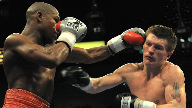 Ricky Hatton during his fight against Floyd Mayweather Jr. at the MGM Grand Garden Arena.