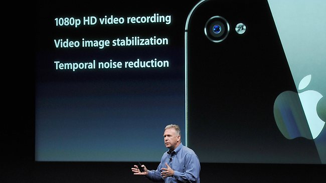 Apple's Senior Vice President of Worldwide product marketing Phil Schiller introduces the new iPhone 4S. Picture: Getty Images / AFP