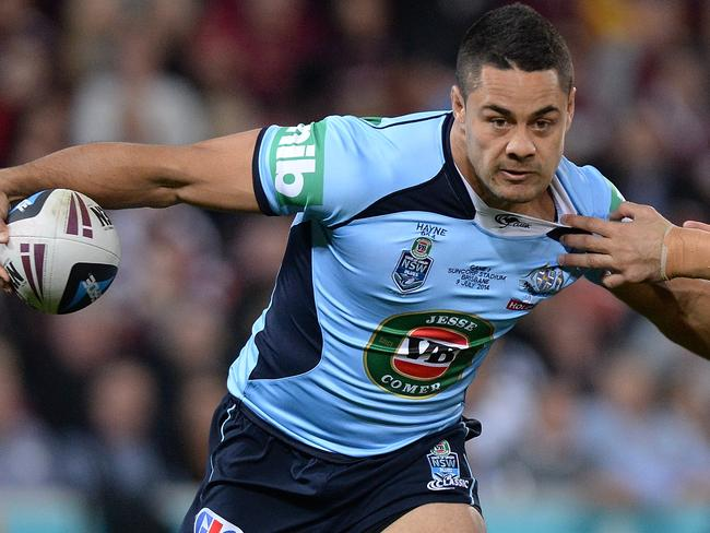 NSW fullback Jarryd Hayne tries to make a break.