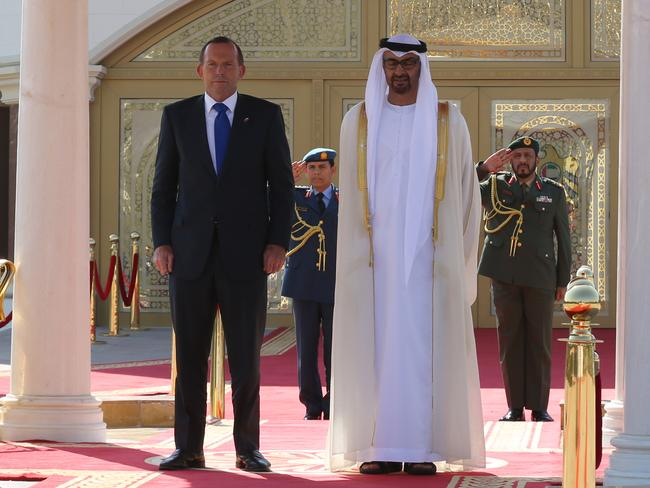 Prime Minister Tony Abbott's official welcome by the Crown Prince of Abu Dhabi at the Al Mushrif Palace. Picture: Office of the Prime Minister.