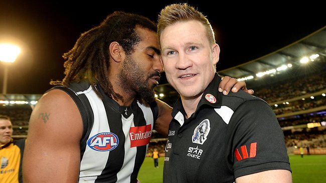 Magpie Harry O'Brien celebrates the victory with coach Nathan Buckley. Picture: Colleen Petch