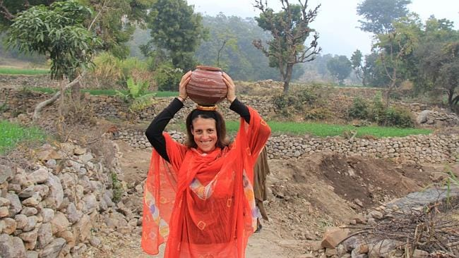 Fetching water and walking in the shoes of local women in India. Picture: Supplied