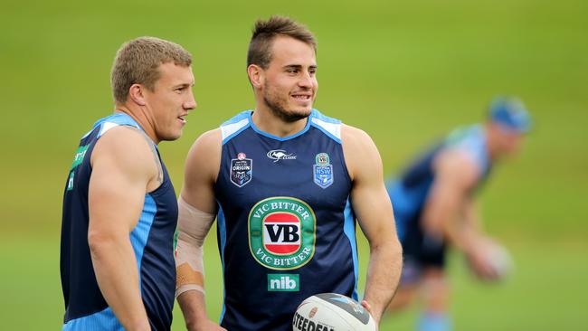 Trent Hodkinson and Josh Reynolds during NSW Blues training session.