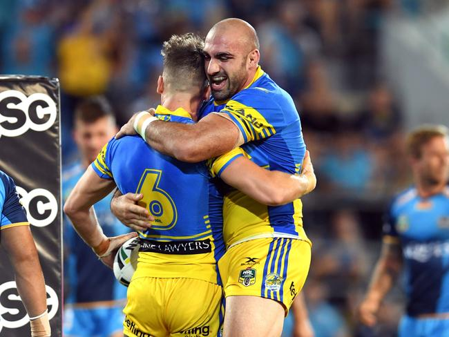 Eels captain Tim Mannah just loves playing with Clint Gutherson. Picture: AAP