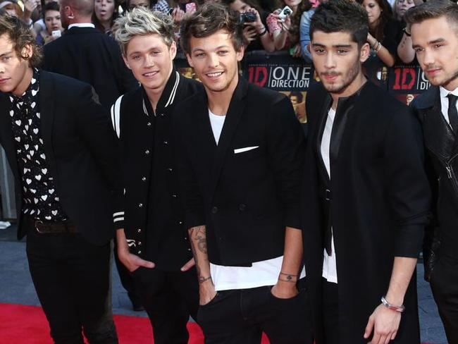 One Direction in 2011: (L-R) Harry Styles, Niall Horan, Louis Tomlinson, Zayn Malik and Liam Payne of British boyband One Direction. Picture: AFP.
