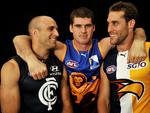 Brisbane Lions Jonathan Brown with West Coast Eagles Darren Glass and Carlton's Chris Judd.