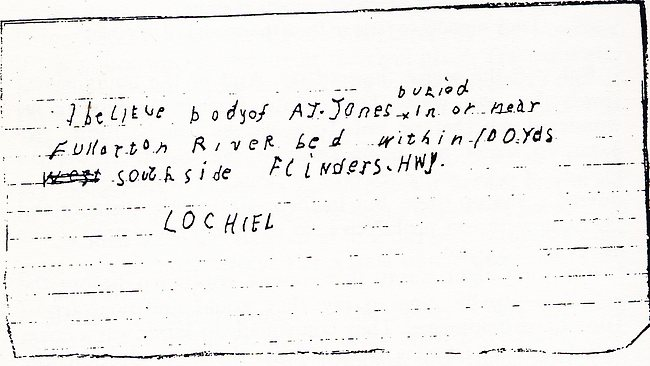 The Tony Jones 'Lochiel' letter.
