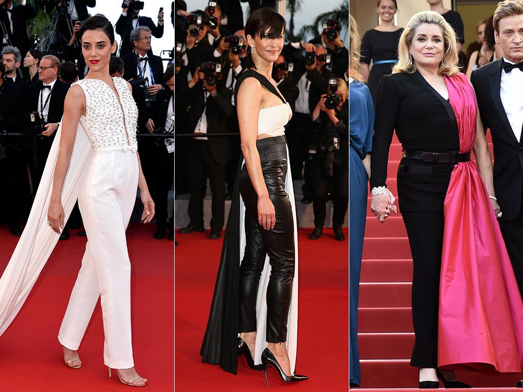 Pants-gown glamour: Actresses Cansu Dere, Sophie Marceau and Catherine Deneuve rock the pants-in-a-gown look on the Cannes red carpet. Pictures: Getty/AFP
