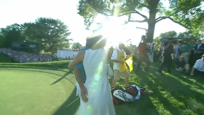Jason Dufner 'embraces' wife Amanda after his US PGA win. Image: CBS Sports