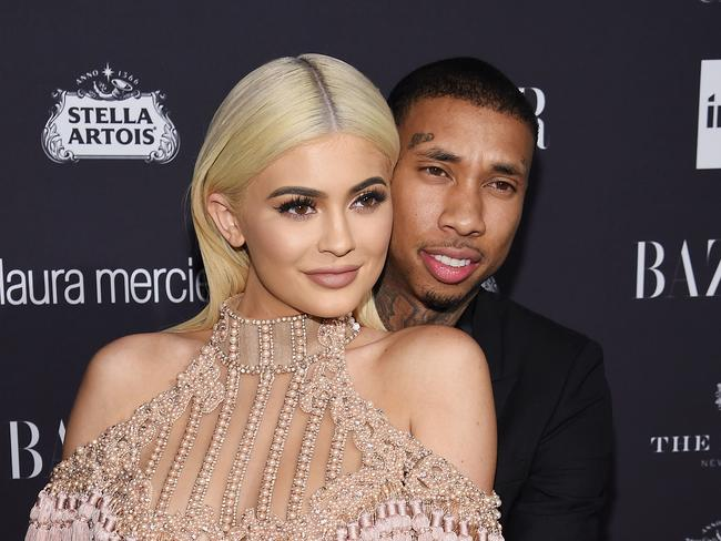 The couple both had tribute tattoos for each other but Kylie has since changed hers for good. Picture: Dimitrios Kambouris