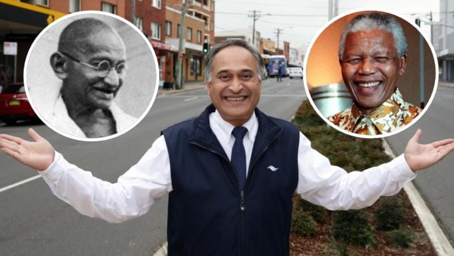 Randwick Mayor Noel D'Souza has put himself in the same company as Mahatma Gandhi and Nelson Mandela.