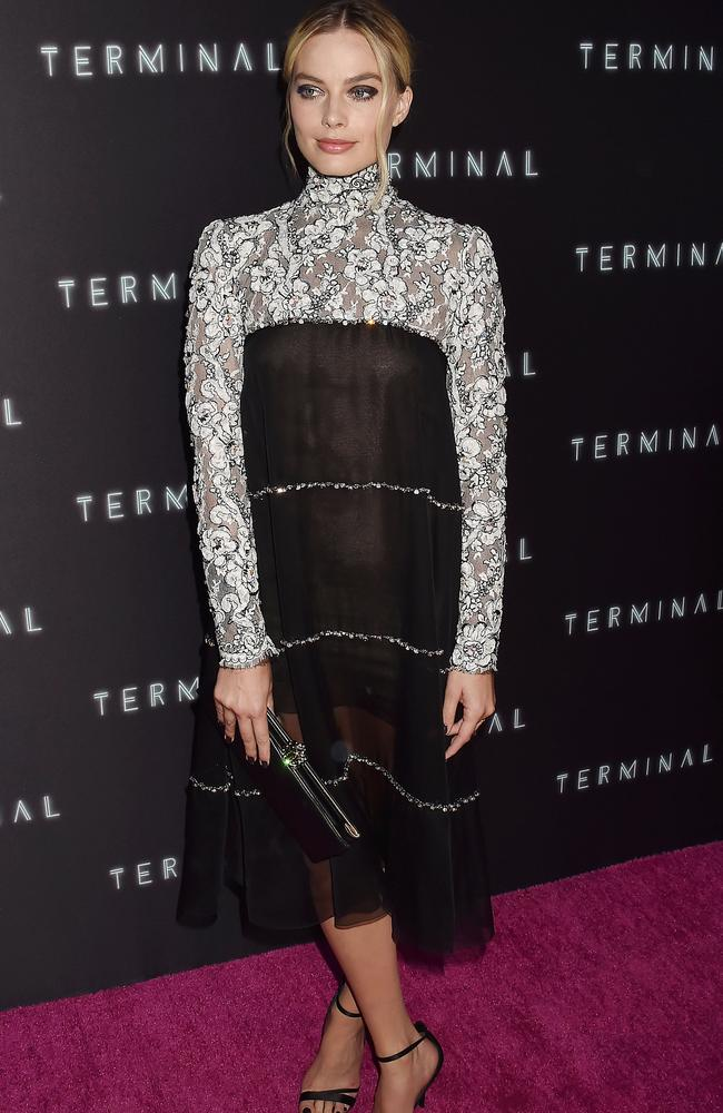Margot Robbie wore Chanel to the premiere of Terminal in Los Angeles this week. Picture: MEGA