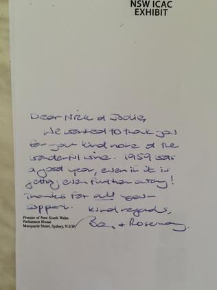 The thank you note sent by Premier Barry O'Farrell for the bottle of Grange