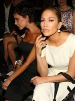 Striking poses, singers Victoria Beckham and Jennifer Lopez attend the Marc Jacobs Spring 2009 fashion show during Mercedes-Benz Fashion Week 2008 in New York City. Picture: Getty