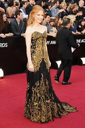 Actress Jessica Chastain arrives at the 84th Annual Academy Awards on February 26, 2012. Picture: Jason Merritt/Getty Images