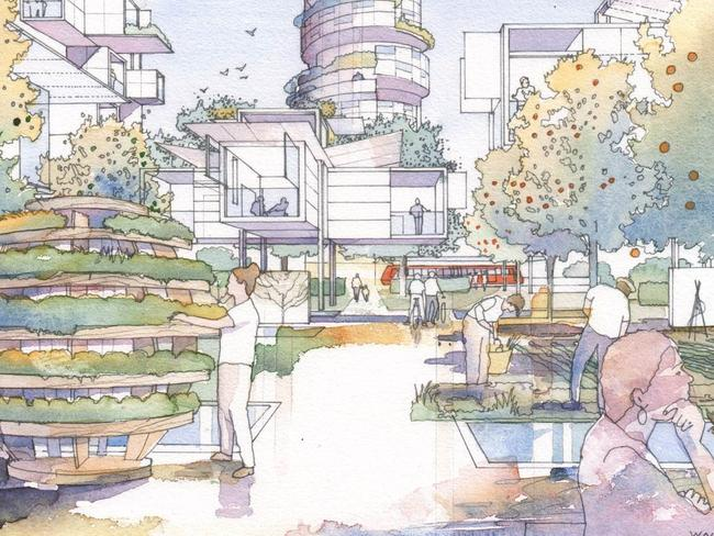 People co-living and an illustration of The Growroom. Picture: People & Plant Positive Report 2017