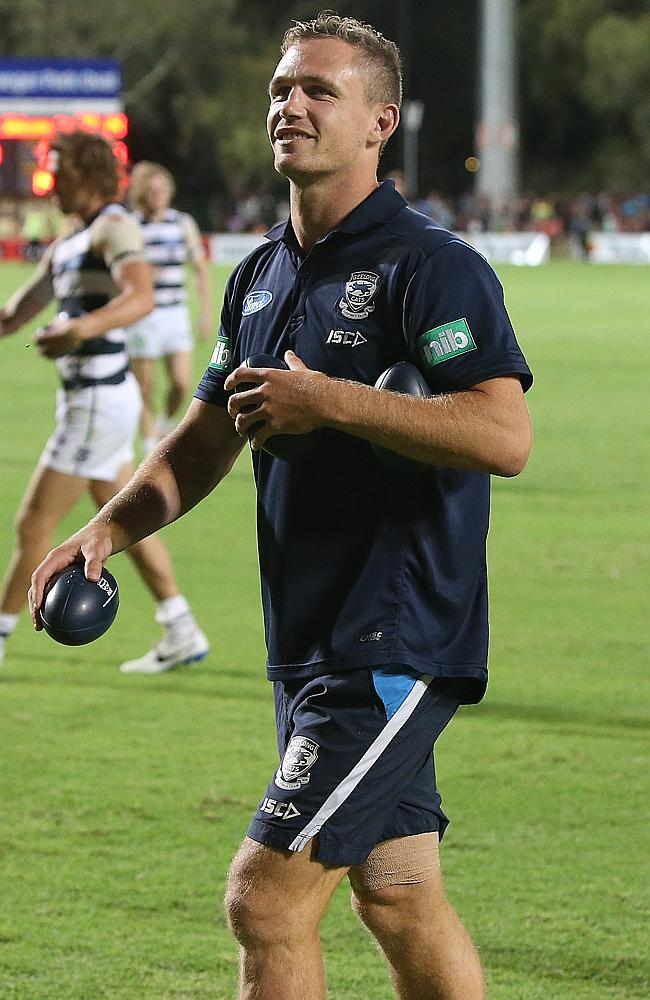Geelong captain Joel Selwood walks from the ground with his right hamstring strapped. Picture: Wayne Ludbey