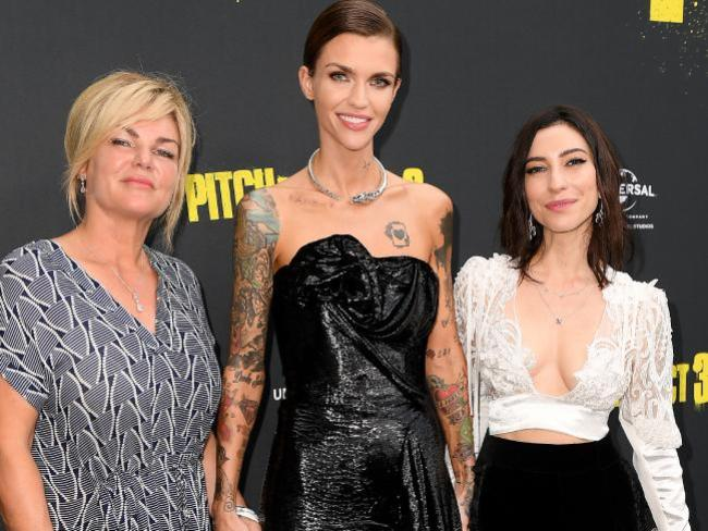 Ruby Rose with her mother Katia Langenheim and partner Jessica Origliasso at the Australian premiere of Pitch Perfect 3. Photo: AAP