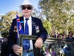 Veteran Barry Lister at the Caloundra Anzac Day Parade. Picture: Lachie Millard