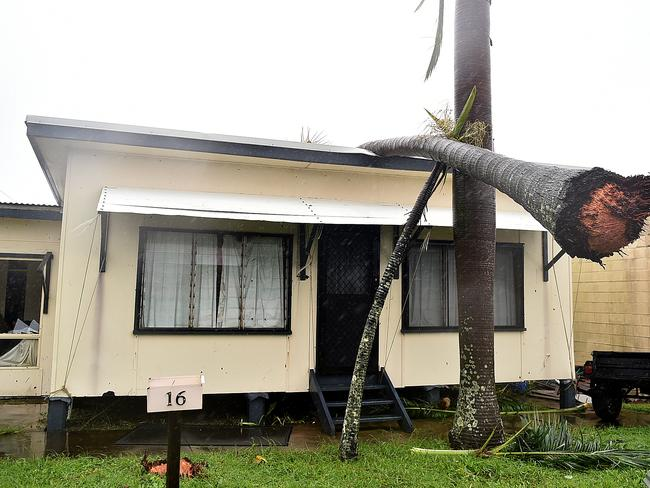 A house in Airlie Beach is left with a gapping hole and a tree on the roof during Cyclone Debbie. Picture: Alix Sweeney