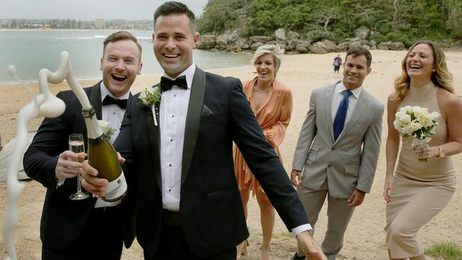 Dan Waknin and James Hanley celebrated their wedding in Manly on Sydney's northern beaches last month. With same-sex marriage barred in Australia, the couple tied the knot under British law at the UK's consulate in Sydney. Picture: Adam Ward