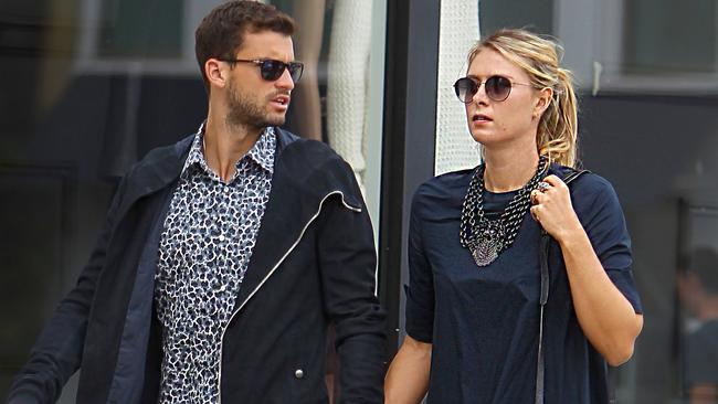 Maria Sharapova and boyfriend Grigor Dimitrov walk hand-in-hand in Beverly Hills during their time together.