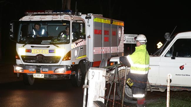 Ambulance Rescue arrives at the Austar Coal Mine last night following a wall collapse. Picture: Bill Hearne