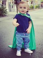 "Commando and Michelle Bridges super cute son, Axel, strikes a pose: ""...my super hero..."" Picture: Michelle Bridges / Instagram"