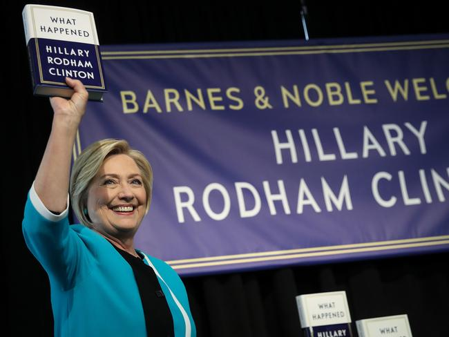 Hillary Clinton promotes her new book in New York. Picture: Drew Angerer/Getty Images/AFP