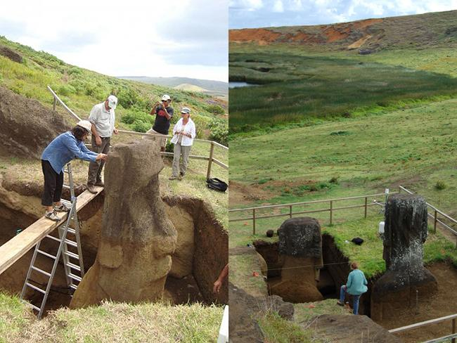 Excavation: the dirt partially burying the statues was washed down from above and not deliberately placed there to bury, protect, or support them. Picture: Easter Island Statue Project.